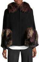 Aquilano Rimondi Fox Fur & Virgin Wool Cape Coat