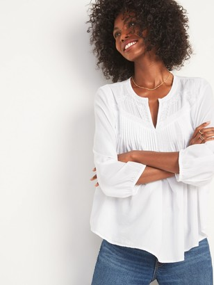 Old Navy Oversized Lace-Trim Pintucked Blouse for Women