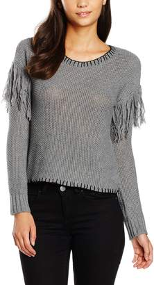 MinkPink Women's Miles Apart Fringe Sweater Plain Long Sleeve Sweatshirt