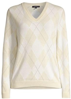 Lafayette 148 New York Lurex-Knit Argyle Cashmere Sweater