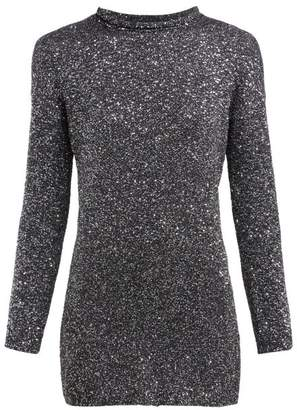 Saint Laurent Sequinned Knitted Mini Dress - Womens - Silver
