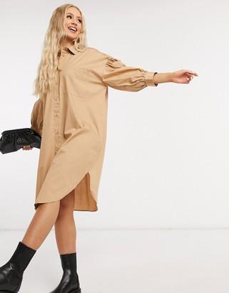 Monki Mona cotton shirt dress in beige