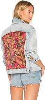 Free People Paisley Quilted Denim Jacket.