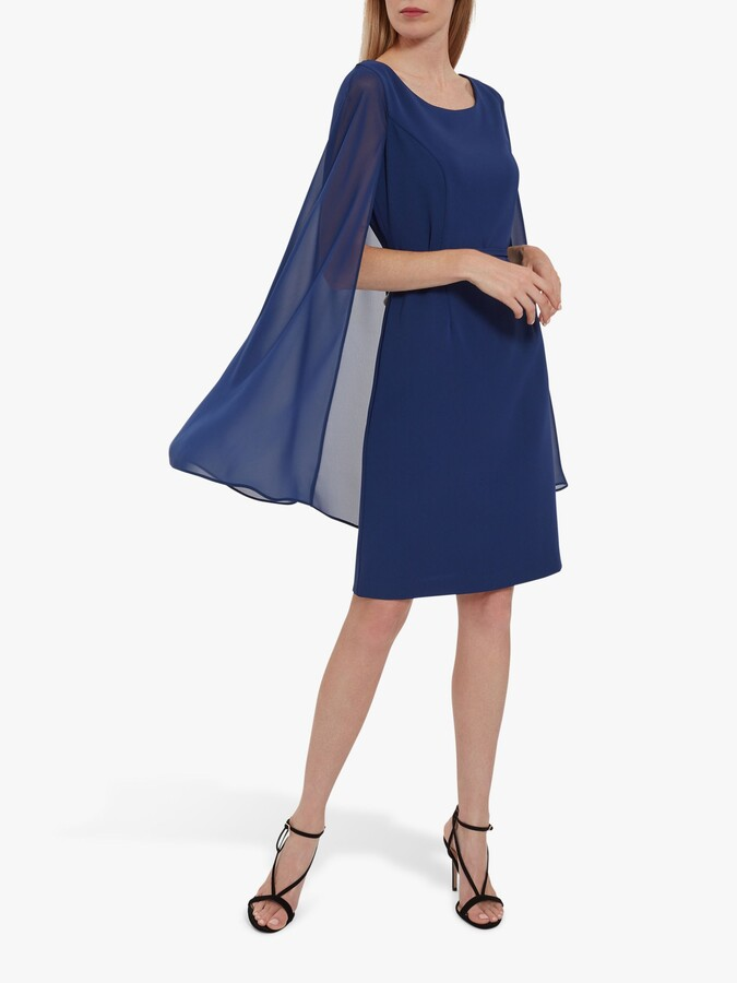 Thumbnail for your product : Gina Bacconi Bevin Crepe And Chiffon Cape Dress
