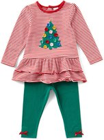 Starting Out Baby Girls 12-24 Months Christmas Tree Striped Top & Leggings Set