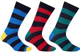 John Lewis Rugby Stripe Socks, Pack Of 3, Blue/red/green