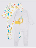 Marks and Spencer 2 Pack Pure Cotton Animal Applique Sleepsuits