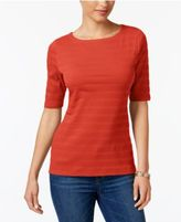Charter Club Elbow-Sleeve Textured Top, Created for Macy's