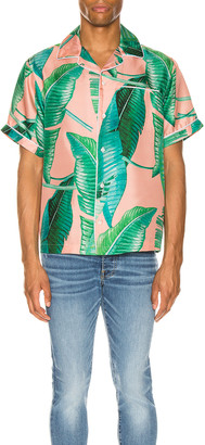 Amiri Banana Leaves Short Sleeves Pajama Shirt in Peach | FWRD