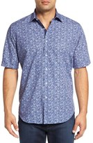 Bugatchi Classic Fit Square Print Short Sleeve Sport Shirt