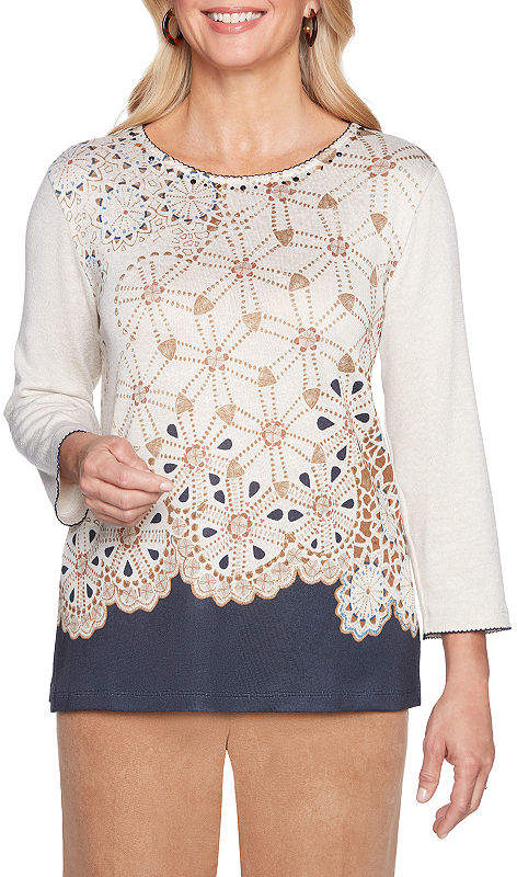 3-4 Round Neck Geometric Pullover Sweater-Petite