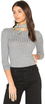 Enza Costa Cashmere Rib Long Sleeve Tee in Grey