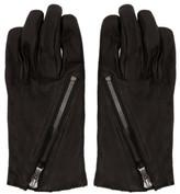 The Viridi-anne Black Diagonal Zipper Gloves