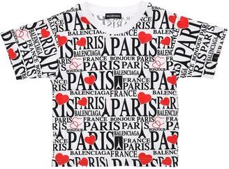 Balenciaga ALL OVER PARIS PRINT JERSEY T-SHIRT