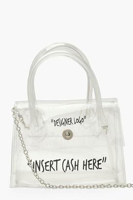 boohoo Clear Insert Cash Slogan Cross Body Bag
