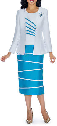 GIOVANNA COLLECTION Giovanna Collection Striped Skirt Suit