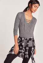 Missguided Lace Up Rib Sweater Grey