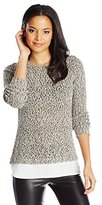 Calvin Klein Women's Sweater Knit with Woven Shirting