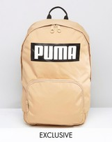 Puma Logo Backpack In Sand Exclusive To Asos