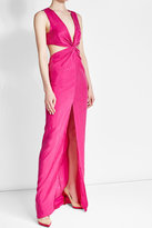 Balmain Floor Length Silk Dress with Cut-Out Detail