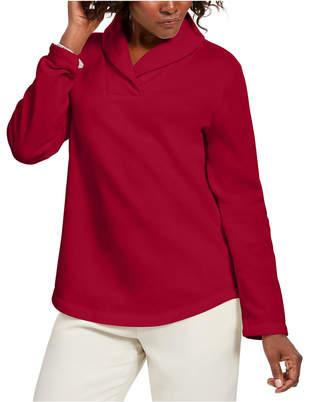 Karen Scott Petite Shawl-Collar Sweatshirt