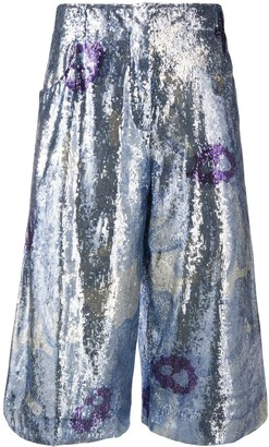 Jacquemus Floral Sequin Embellished Cropped Trousers
