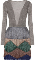 Missoni Fringed Metallic Knitted Mini Dress - Silver