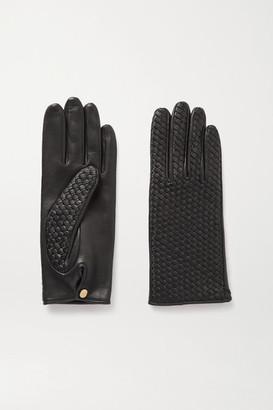 Agnelle Chloe Woven Leather Gloves - Black