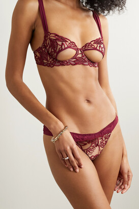 Coco de Mer Aurora Georgette-trimmed Cutout Embroidered Tulle Underwired Soft-cup Bra - Burgundy