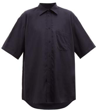Balenciaga Oversized Logo-tab Lyocell Poplin Shirt - Mens - Navy