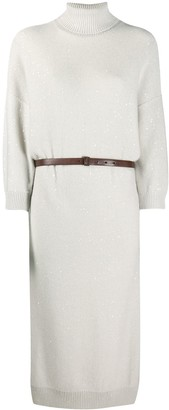 Brunello Cucinelli Roll-Neck Belted Dress
