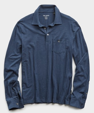 Todd Snyder Made In L.A. Slub Jersey Long Sleeve Polo in Navy
