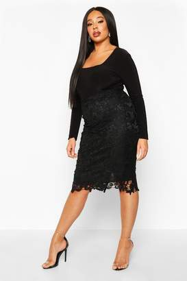 boohoo Plus Crochet Lace Midi Skirt