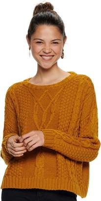 Mudd Juniors' Drop Shoulder Cable Sweater
