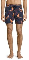 Vilebrequin Mistral Embroidered Sailboat Swim Trunks, Red/Black