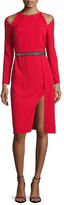 Halston Cold-Shoulder Belted Cocktail Dress, Scarlet