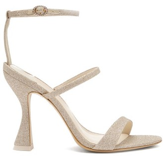 Sophia Webster Rosalind Hourglass Glittered-leather Sandals - Womens - Light Gold