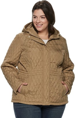 Weathercast Plus Size Quilted Hooded Anorak Jacket