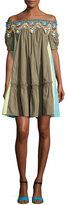 Peter Pilotto Colorblock Lace-Trim Off-the-Shoulder Minidress, Khaki