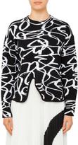 Proenza Schouler Crewneck Pullover W Asym Hem-Brushstroke Jacquard