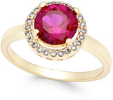 Charter Club Gold-Tone Red Stone Pavé Ring, Only at Macy's