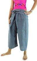CandyHusky's Stripe Cotton 3/4 Capri Fisherman Pants Hippie Beach Yoga Pants