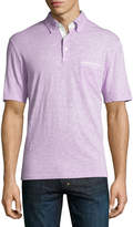 Thomas Dean Solid Knit Cotton Polo Shirt, Lavender