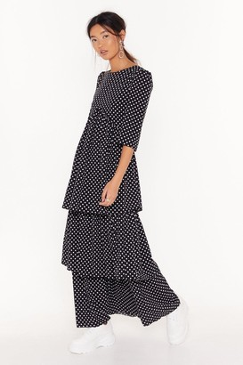 Nasty Gal Womens Layer With Me Polka Dot Maxi Dress - Black