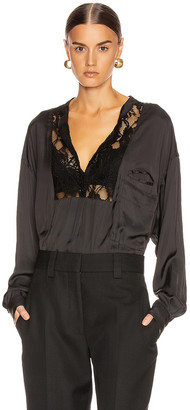 Smythe Lace Bib Top in Black | FWRD