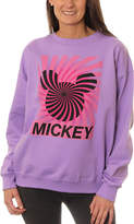 Asstd National Brand Mickey Mouse Juniors' Spiral Silhouette Ears Neon Crewneck Graphic Sweatshirt
