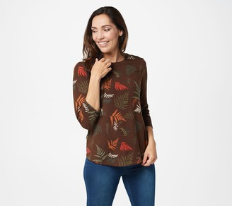 Denim & Co. Printed Brushed Heavenly Jersey Scoop-Neck 3/4-Sleeve Top