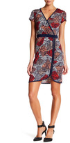 Laundry by Shelli Segal Printed Surplice Zip Detail Dress