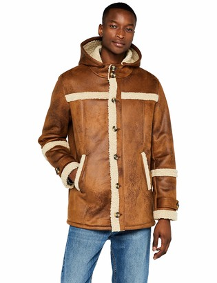 Find. Amazon Brand Men's Leather Look Hooded Shearling Jacket