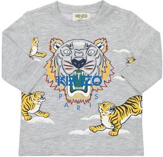 Kenzo Kids Tiger Print L/S Cotton Jersey T-Shirt